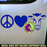 PEACE LOVE COW Vinyl Decal Sticker