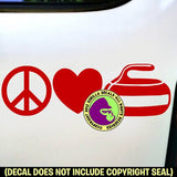 PEACE LOVE CURLING Stone Sport Game Player Vinyl Decal Sticker