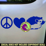 PEACE LOVE HEDGEHOG Vinyl Decal Sticker