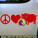 PEACE LOVE POT BELLY PIG Vinyl Decal Sticker