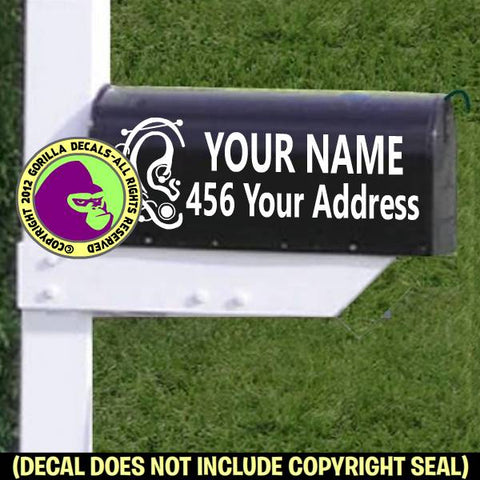 Piercing MAILBOX Set - ADD YOUR NAME & ADDRESS Vinyl Decal Sticker