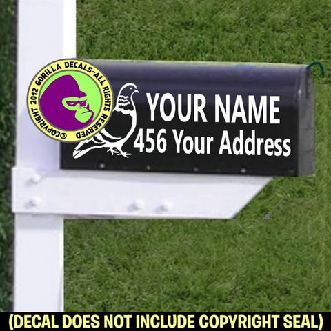 Pigeon MAILBOX Set - ADD YOUR NAME & ADDRESS Vinyl Decal Sticker