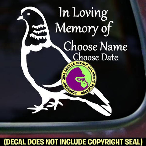 PIGEON Bird Memorial  - ADD YOUR CUSTOM WORDS - Vinyl Decal Sticker