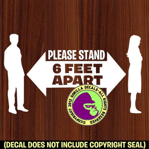 PLEASE STAND 6 FEET APART Covid-19 Coronavirus Retail Vinyl Decal Sticker