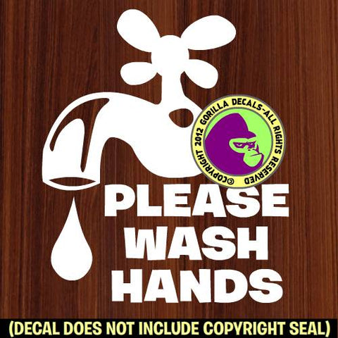 PLEASE WASH HANDS Retail Vinyl Decal Sticker