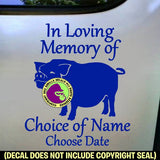 POT BELLY PIG - MEMORIAL - Vinyl Decal Sticker