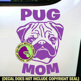 Pug - MOM - Dog Breed Love Vinyl Decal Sticker