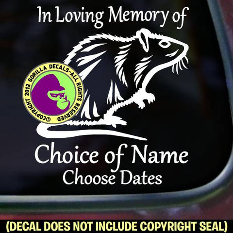 Rat - Memorial  - ADD YOUR CUSTOM WORDS - Vinyl Decal Sticker