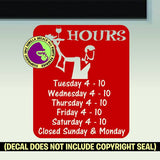 RESTAURANT WAITER HOURS - Custom Text - Vinyl Decal Sticker