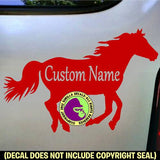 Running Horse ADD YOUR CUSTOM WORDS Vinyl Decal Sticker
