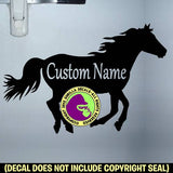 LARGE SIZE Running Horse ADD CUSTOM WORDS Vinyl Decal Sticker