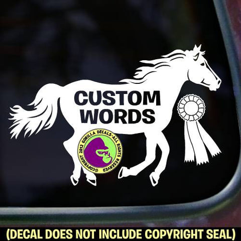 Running Horse Ribbon #2 - ADD YOUR CUSTOM WORDS Vinyl Decal Sticker