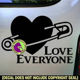 SAFETY PIN LOVE EVERYONE Heart Vinyl Decal Sticker