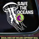 SAVE THE OCEANS Jellyfish Vinyl Decal Sticker