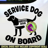 SERVICE DOG ON BOARD - Caution Dog Breed Love Vinyl Decal Sticker