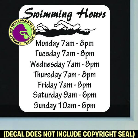 SWIMMING HOURS - Custom Text - Vinyl Decal Sticker