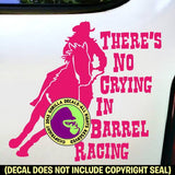 THERE'S NO CRYING IN BARREL RACING Funny Horse Rider Vinyl Decal Sticker
