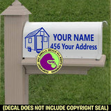 TINY HOUSE MAILBOX Set - ADD YOUR NAME & ADDRESS Vinyl Decal Sticker