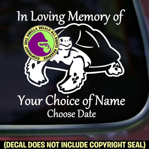TORTOISE Memorial  - ADD YOUR CUSTOM WORDS - Vinyl Decal Sticker