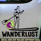 WANDERLUST Girl Paddle Board Vinyl Decal Sticker