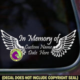 Wings Memorial ADD CUSTOM WORDS Vinyl Decal Sticker