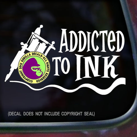 ADDICTED TO INK Tattoo Vinyl Decal Sticker