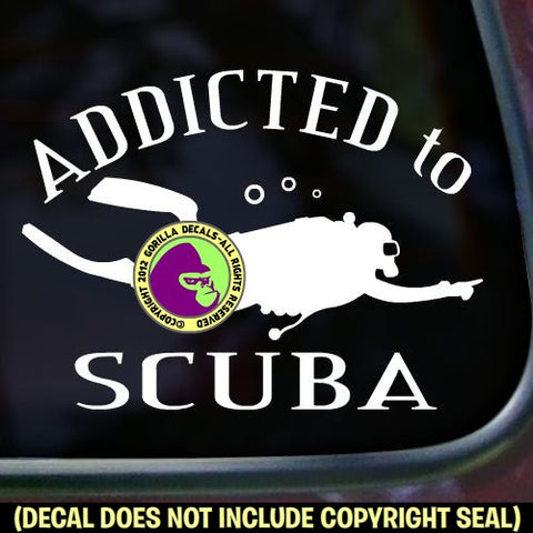 ADDICTED TO SCUBA Diver Diving Vinyl Decal Sticker
