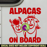 ALPACAS ON BOARD Trailer Vinyl Decal Sticker