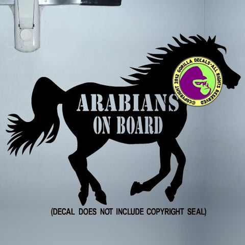 ARABIANS ON BOARD Trailer Vinyl Decal Sticker