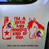 BEER & HORSES GIRL Vinyl Decal Sticker