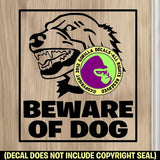 LARGE BEWARE OF DOG Vinyl Decal Sticker