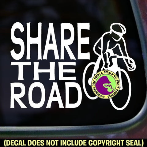 SHARE THE ROAD Cycling Biking Road Vinyl Decal Sticker