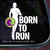 BORN TO RUN FEMALE Runner Marathon Vinyl Decal Sticker