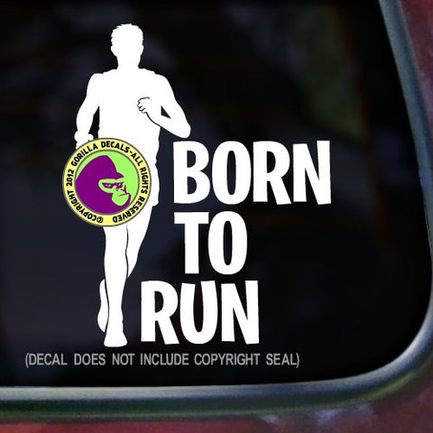 BORN TO RUN MALE Runner Marathon Vinyl Decal Sticker