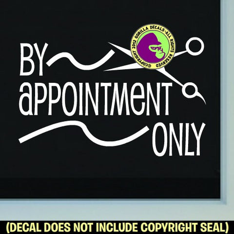 BY APPOINTMENT ONLY Hair Shears Vinyl Decal Sticker