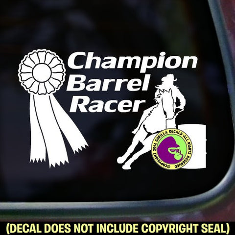 CHAMPION BARREL RACER Vinyl Decal Sticker