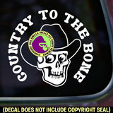 COUNTRY TO THE BONE Skull Hat Vinyl Decal Sticker
