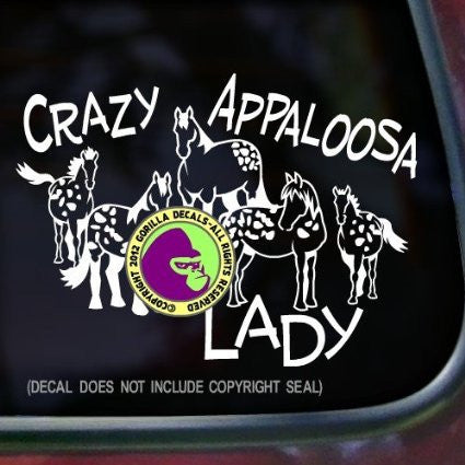 APPALOOSA HORSES - CRAZY APPALOOSA LADY Vinyl Decal Sticker