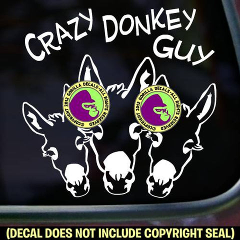 CRAZY DONKEY GUY Burro Mule Mini Love Vinyl Decal Sticker