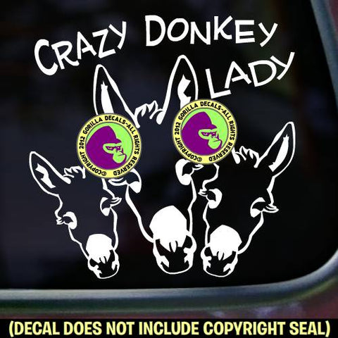 CRAZY DONKEY LADY Burro Mule Love Vinyl Decal Sticker