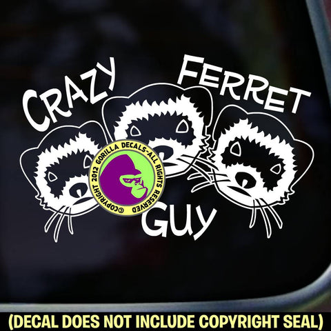CRAZY FERRET GUY Weasel Vinyl Decal Sticker