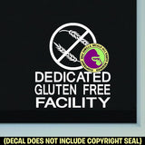 DEDICATED GLUTEN FREE FACILITY Vinyl Decal Sticker