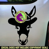 Donkey with COWBOY HAT Burro Mule Mini Love Vinyl Decal Sticker