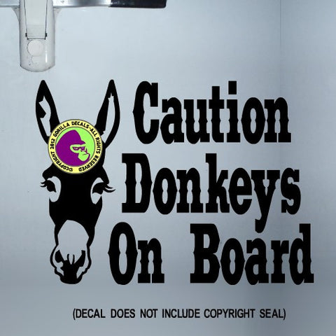 DONKEYS ON BOARD Large Trailer Vinyl Decal Sticker