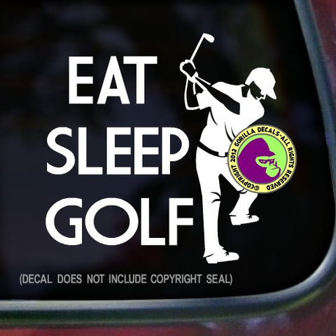 EAT SLEEP GOLF Male Golfer Vinyl Decal Sticker