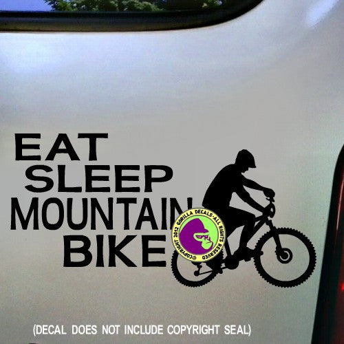 Eat Sleep Mountain Bike Vinyl Decal Sticker Gorilla Decals