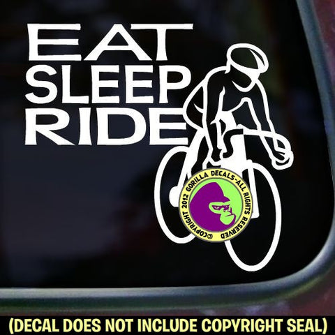 EAT SLEEP RIDE Cycling Biking Road Vinyl Decal Sticker