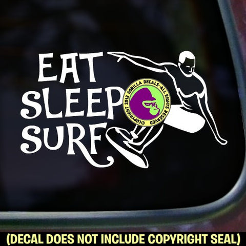 EAT SLEEP SURF Vinyl Decal Sticker