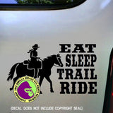 EAT SLEEP TRAIL RIDE Western Rider Vinyl Decal Sticker