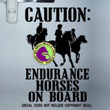 ENDURANCE HORSES ON BOARD Caution Trailer Vinyl Decal Sticker
